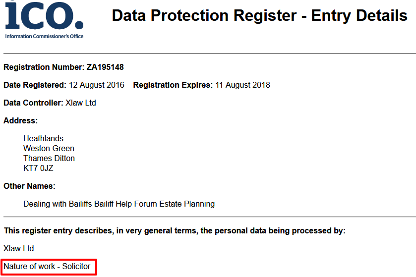 ICO registration says solicitor
