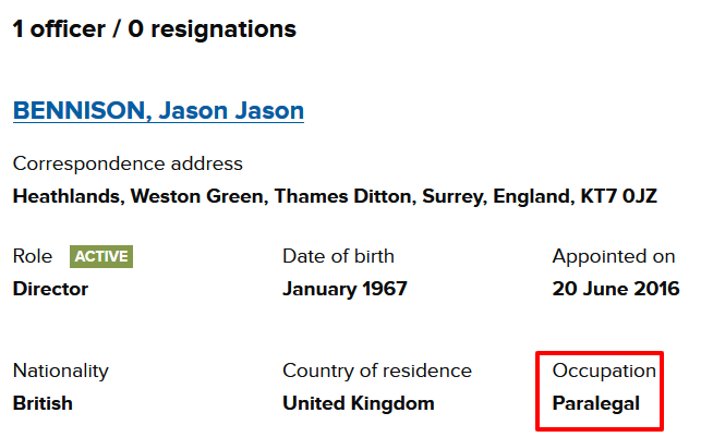 Jason Bennison claims to be a paralegal