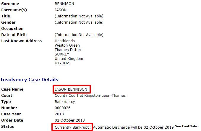 Bennison bakruptcy record